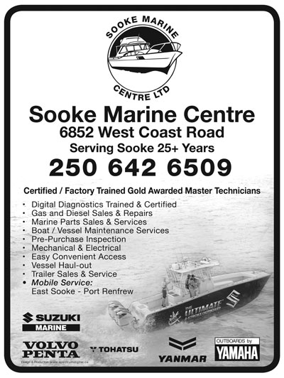 Sooke Marine centre directory ad.